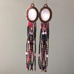 Vintage Boho Festival Fringe Beaded Craft Earrings